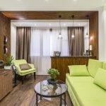 Interiør med grønne møbler