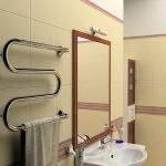 Porte-serviettes chauffant près du miroir