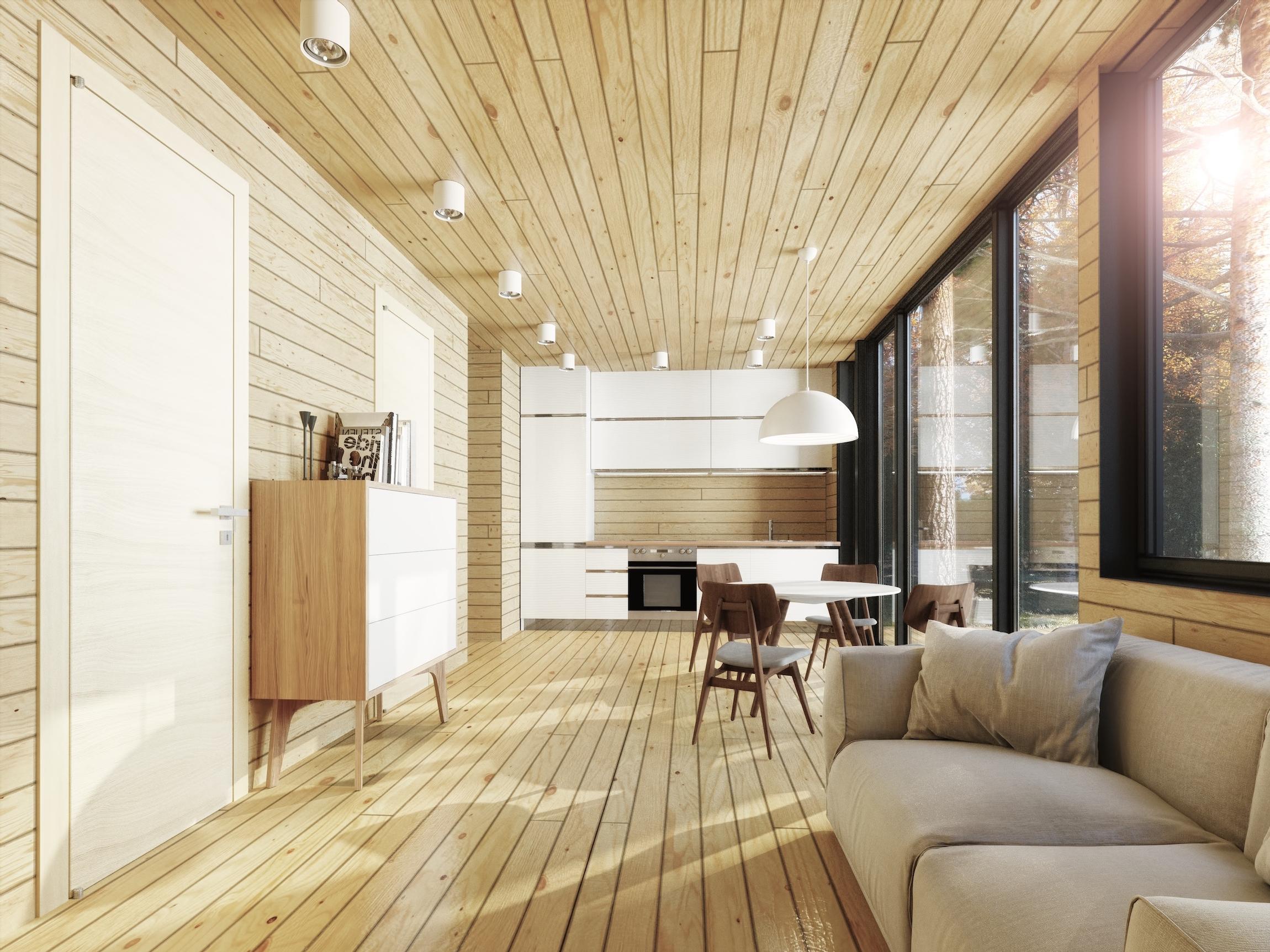 Lys imitasjon av tømmer i interiøret