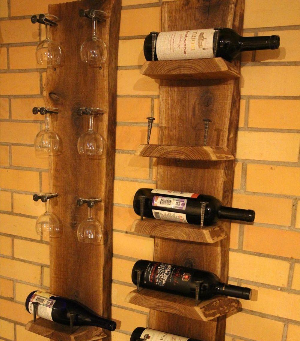 Étagère à vin en vieux bois et vieux clous en fonte