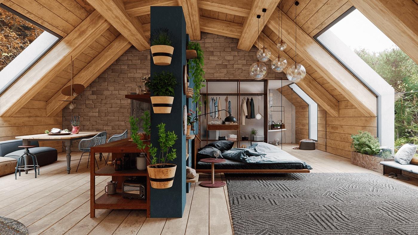Maison en bois de style écologique