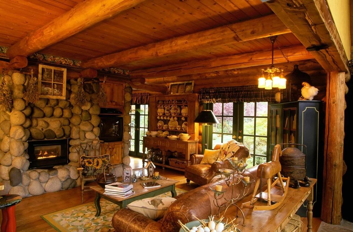 Pierre à l'intérieur d'une maison en bois